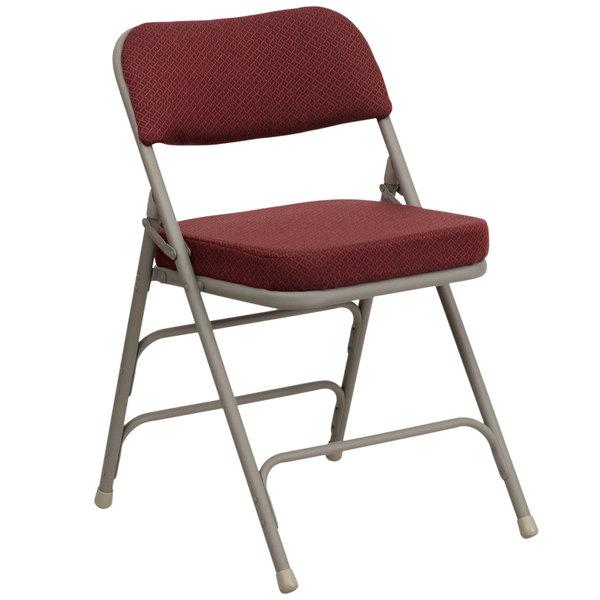 "Flash Furniture HA-MC320AF-BG-GG Burgundy Metal Folding Chair with 2 1/2"" Padded Fabric Seat"
