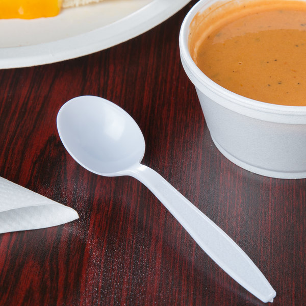 Visions White Heavy Weight Plastic Soup Spoon Main Image 2