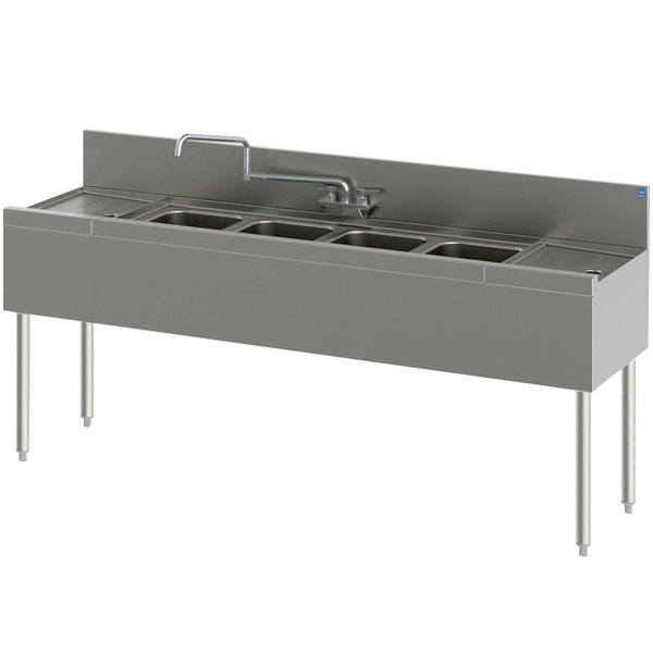 """Perlick TS84C 4 Bowl Stainless Steel Underbar Sink with Two 24"""" Drainboards and 6"""" Backsplash - 96"""" x 18 9/16"""" Main Image 1"""