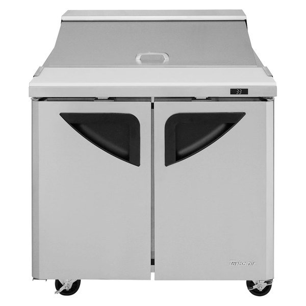 "Turbo Air TST-36SD 36"" 2 Door Refrigerated Sandwich Prep Table"