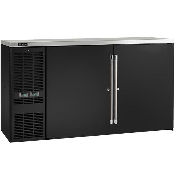 "Perlick DZS60 60"" Black Dual Zone Beer / Wine Dispenser Refrigerator - (2) 1/2 Keg Capacity Main Image 1"