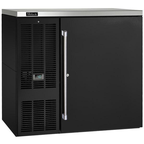 "Perlick PTS36 36"" Black Pass-Thru Back Bar Refrigerator"