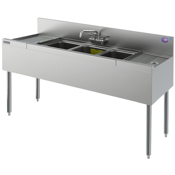 "Perlick TS73C 3 Bowl Stainless Steel Underbar Sink with Two 24"" Drainboards and 6"" Backsplash - 84"" x 18 9/16"""