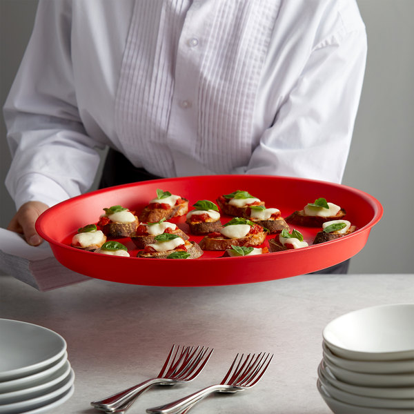 """HS Inc. HS1073-RC 16"""" Red Round Crawfish / Oyster Plastic Serving Tray - 24/Case Main Image 2"""