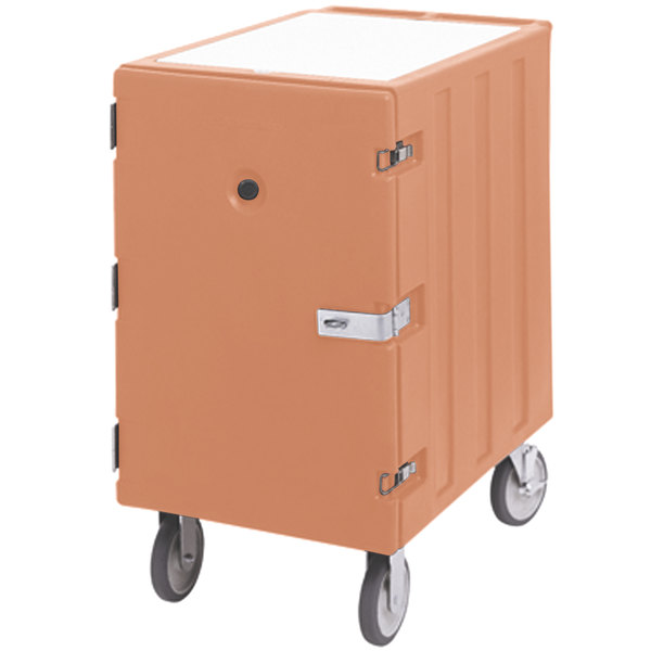 "Cambro 1826LBCSP157 Camcart Coffee Beige Single Compartment Mobile Cart for 18"" x 26"" Food Storage Boxes - With Security Package Main Image 1"