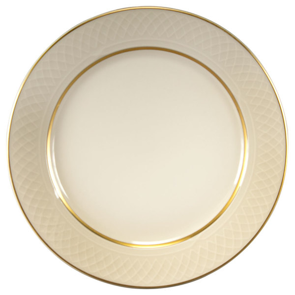 """Homer Laughlin 1420-0340 Westminster Gothic Ivory (American White) 11 1/8"""" China Plate - 12/Case"""