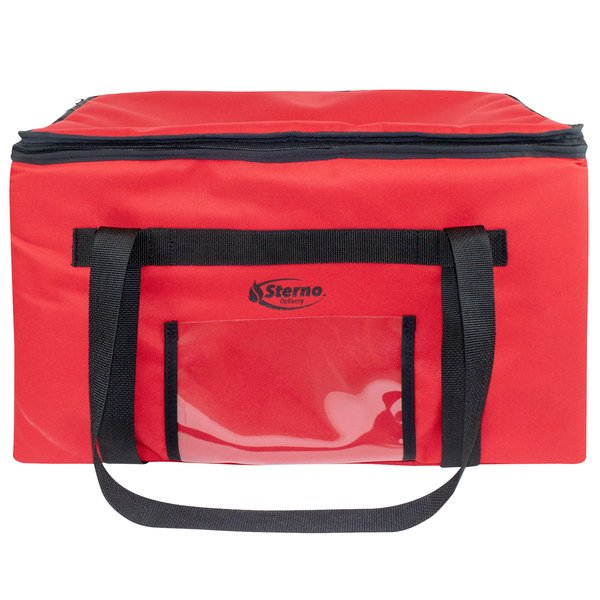 """Sterno 71575 SpeedHeat™ Red Leak-Proof Insulated Food Pan Carrier / Catering Delivery Bag, 23"""" x 15"""" x 13 1/2"""" - Holds (6) Half Size Food Pans Main Image 1"""
