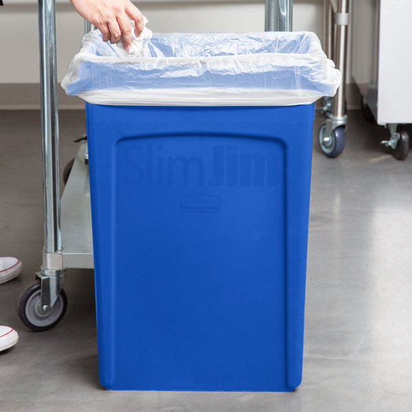 rubbermaid 23 gallon slim jim blue trash can