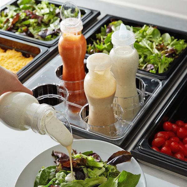 GET SDB-32-PC-6-CL 32 oz. Polycarbonate Clear Salad Dressing / Juice Bottle and Lid Set Main Image 3