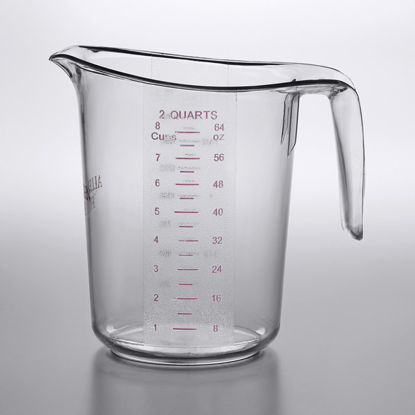 Choice 2 Qt. (8 Cups) Allergen Free Clear Plastic Measuring Cup with Purple  Print and Gradations