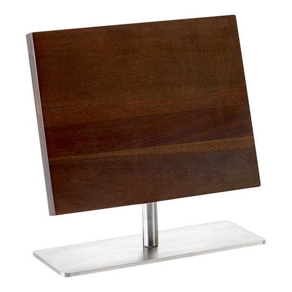 """Mercer Culinary M30726 11 3/8"""" x 9"""" Acacia Magnetic Knife Board with Stainless Steel Base Main Image 1"""