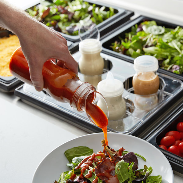 GET SDB-16-PC-6-CL 16 oz. Polycarbonate Clear Salad Dressing / Juice Bottle and Lid Set Main Image 3