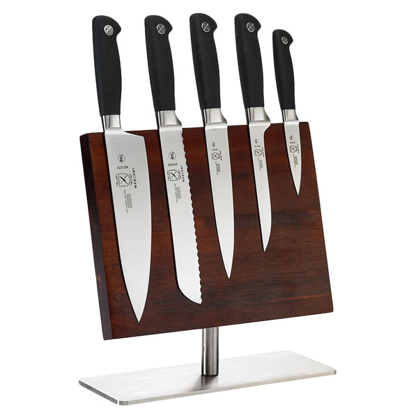 Mercer Culinary M21942 Genesis® 6-Piece Knife Set and Acacia Magnetic Board with Stainless Steel Base Main Image 1