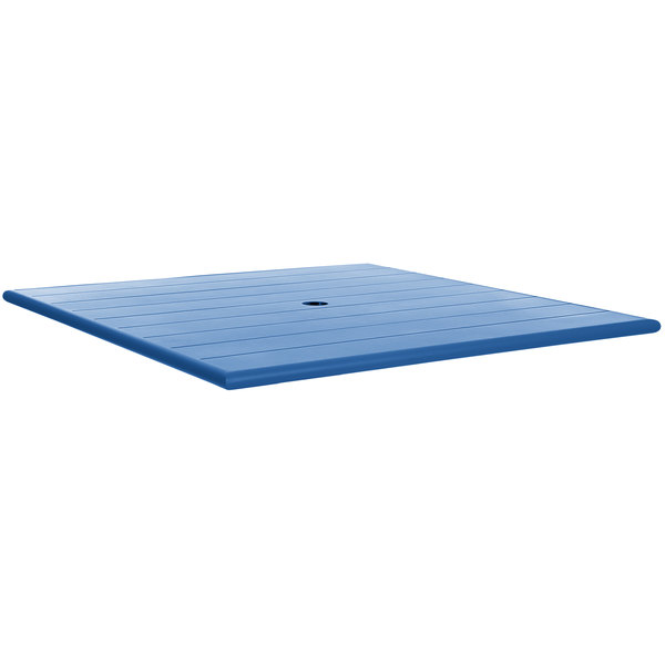 """BFM Seating PHB3232BYU Beachcomber 32"""" Square Berry Aluminum Outdoor Table Top with Umbrella Hole"""