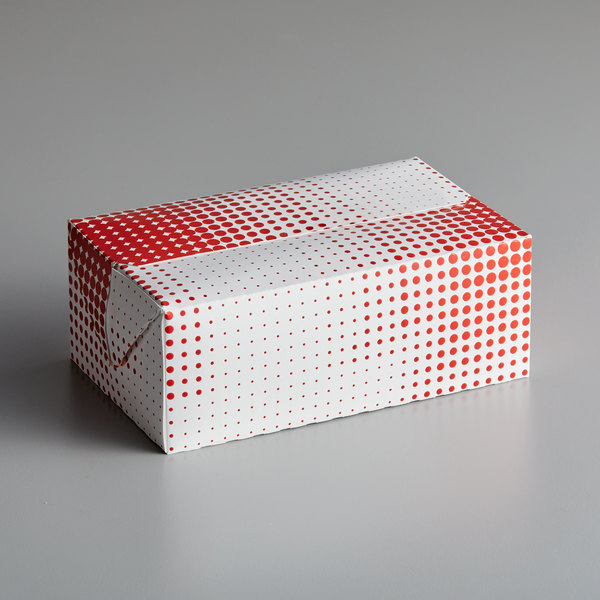 7 inch x 4 1/4 inch x 2 3/4 inch Red Plaid / Dot Take-Out Lunch / Chicken Box with Fast Top  - 250/Case
