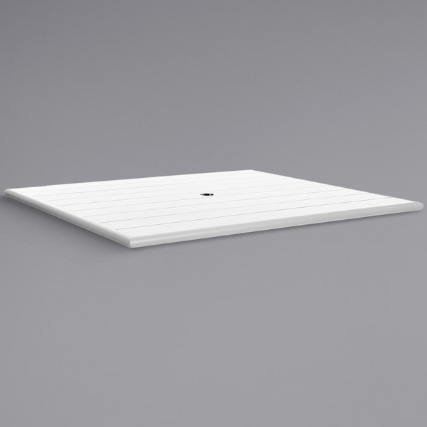 """BFM Seating PHB3248WHU Beachcomber 32"""" x 48"""" White Aluminum Outdoor Table Top with Umbrella Hole"""