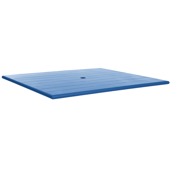 """BFM Seating PHB3248BYU Beachcomber 32"""" x 48"""" Berry Aluminum Outdoor Table Top with Umbrella Hole"""