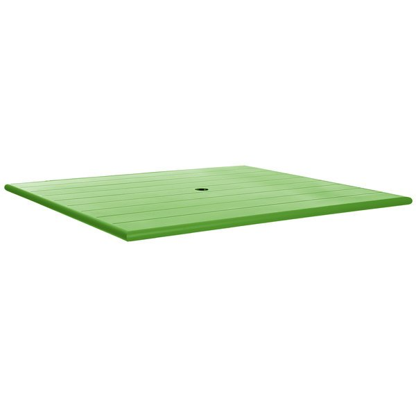 """BFM Seating PHB3248LMU Beachcomber 32"""" x 48"""" Lime Aluminum Outdoor Table Top with Umbrella Hole"""