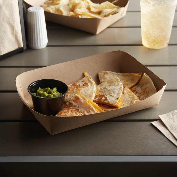 """Customizable 8 5/8"""" x 5 1/2"""" x 2"""" Kraft Carry Lunch Tray - 500/Case Main Image 2"""