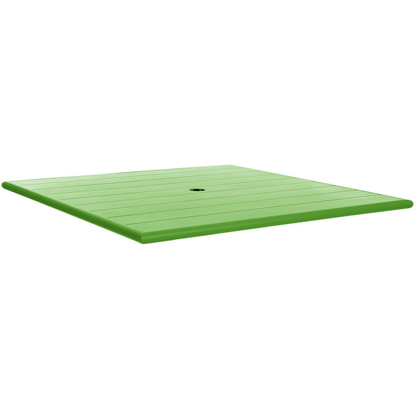 """BFM Seating PHB3232LMU Beachcomber 32"""" Square Lime Aluminum Outdoor Table Top with Umbrella Hole Main Image 1"""