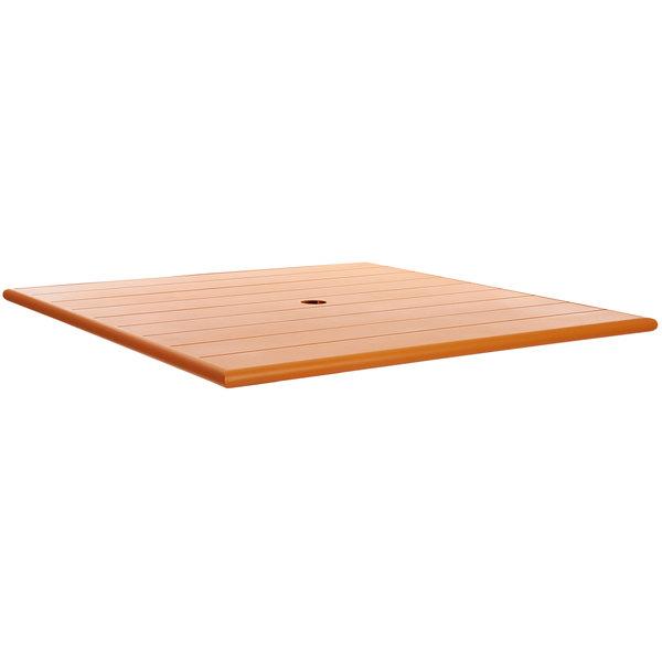 """BFM Seating PHB3636CTU Beachcomber 36"""" Square Citrus Aluminum Outdoor Table Top with Umbrella Hole"""