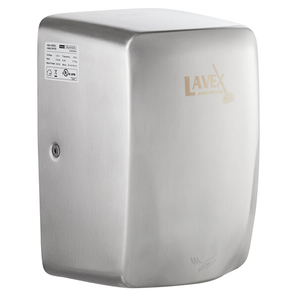 Lavex Janitorial Stainless Steel Compact High Speed Automatic Hand Dryer - 110-130V, 1350W