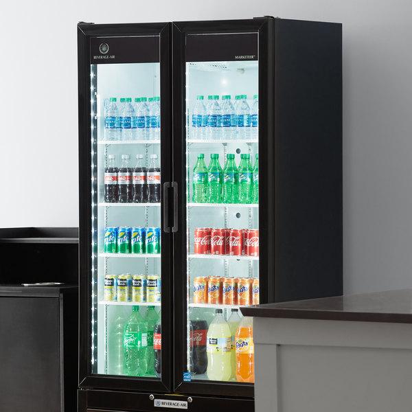 "Beverage-Air MT34-1-B 39 1/2"" Marketeer Series Black Refrigerated Glass Door Merchandiser with LED Lighting Main Image 6"