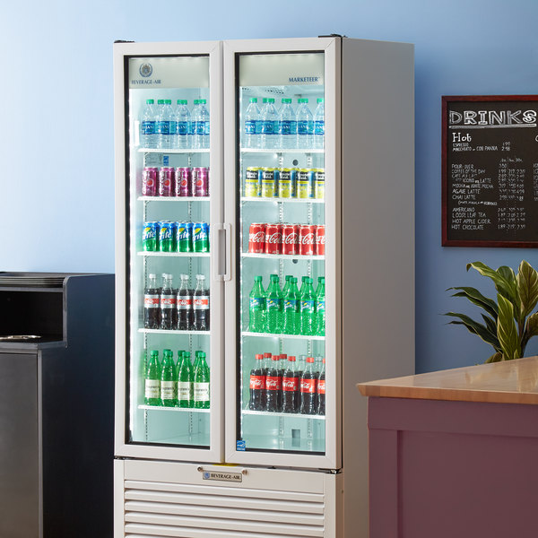 "Beverage-Air MT34-1-W 39 1/2"" Marketeer Series White Refrigerated Glass Door Merchandiser with LED Lighting Main Image 5"