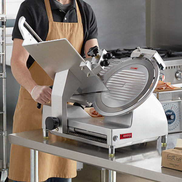 "Avantco SL713MAN 13"" Medium-Duty Manual Gravity Feed Meat Slicer - 1/2 hp Main Image 4"