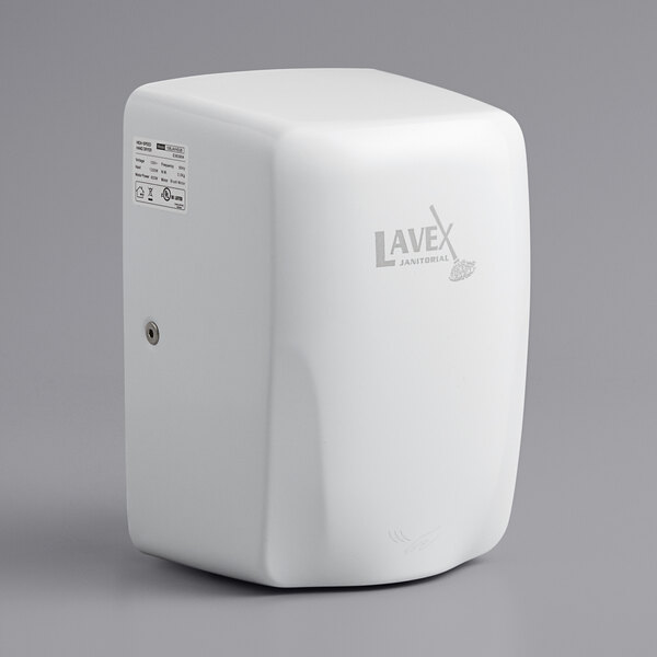 Lavex Janitorial White Compact High Speed Automatic Hand Dryer - 110-130V, 1350W