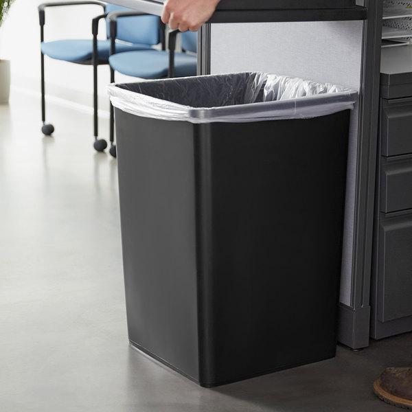 Lavex Janitorial 35 Gallon Black Square Trash Can
