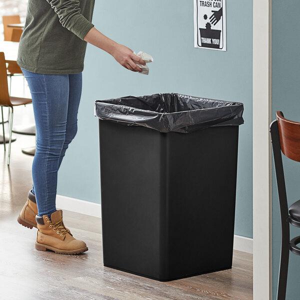 Lavex Janitorial 35 Gallon Black Square Trash Can Main Image 2
