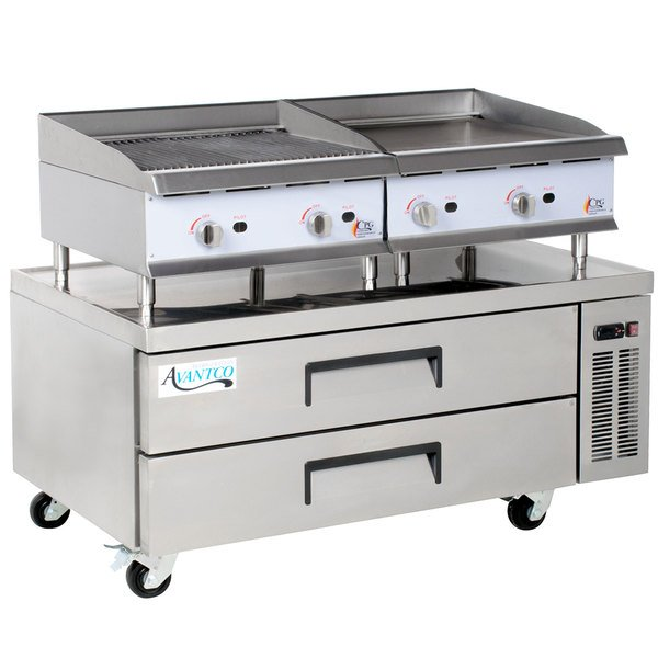 Cooking Performance Group 24GMCLBNL 24 inch Gas Griddle and Gas Lava Briquette Charbroiler with 2 Drawer Refrigerated Chef Base - 140,000 BTU