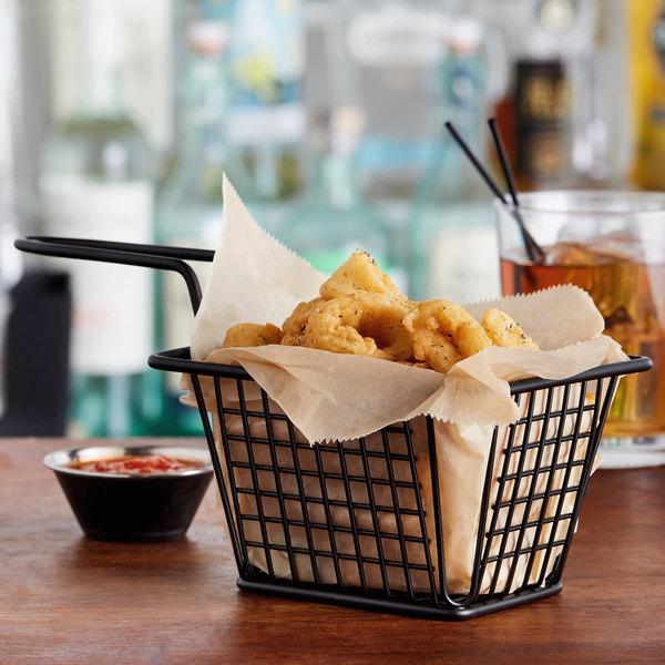 "Choice 5"" x 4"" x 3"" Black Rectangular Mini Fry Basket"