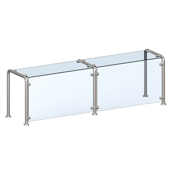 """Vollrath 98626 59"""" Contemporary Style Single-Sided Cafeteria Four Well Breath / Sneeze Guard with Top Shelf"""