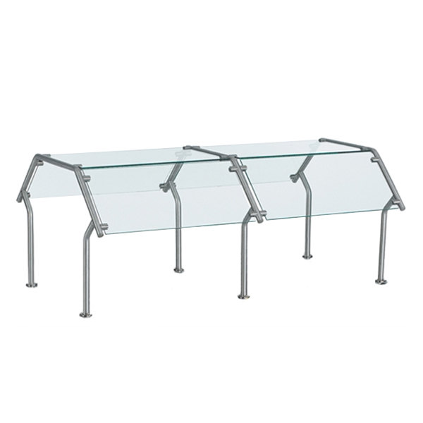 """Vollrath 98638 59"""" Contemporary Style Double-Sided Buffet Four Well Breath / Sneeze Guard with Top Shelf"""