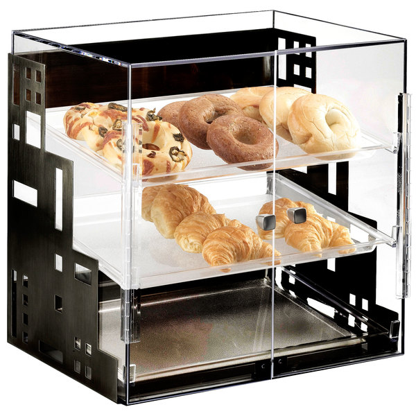 """Cal-Mil 1621-13 Squared Three Tier Black Display Case with Front Doors - 15"""" x 13"""" x 19"""""""