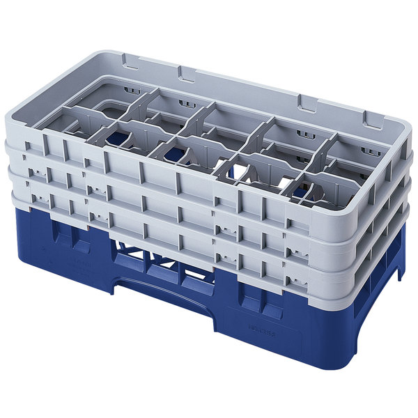 """Cambro 10HS638186 Navy Blue Camrack 10 Compartment 6 7/8"""" Half Size Glass Rack"""