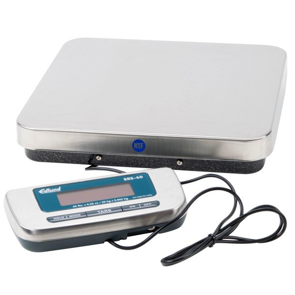 "Edlund ERS-60 60 lb. Digital Receiving Scale with 12"" x 12 1/2"" Platform Main Image 1"