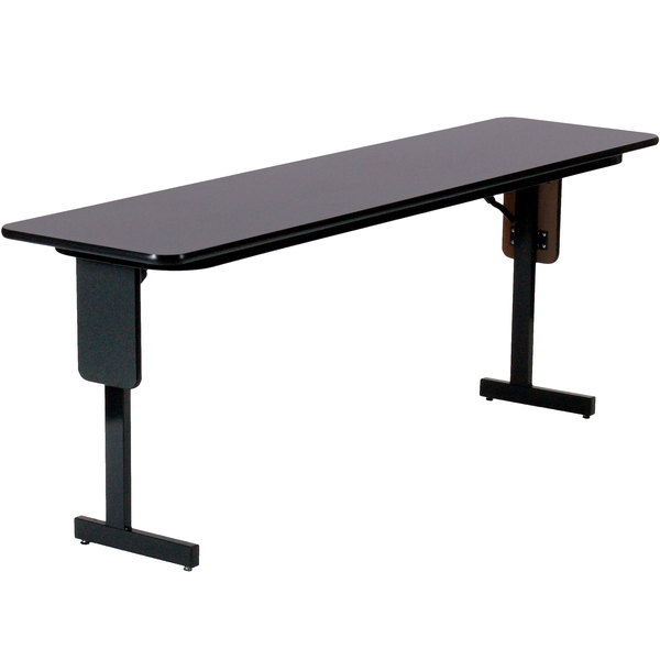 "Correll SP1896PX-07 18"" x 96"" Black Granite Finish Rectangular High Pressure Folding Seminar Table with Panel Leg"