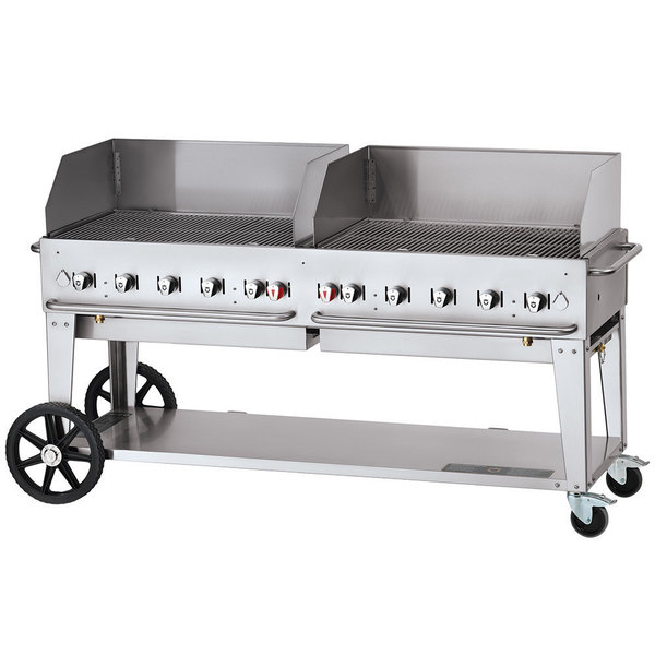 "Crown Verity CV-MCB-72-SI-BULK-WGP Liquid Propane 72"" Mobile Outdoor Grill with Single Gas Connection, Bulk Tank Capacity, and Wind Guard Package Main Image 1"