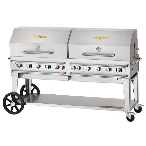 """Crown Verity CV-RCB-72RDP-SI-BULK 72"""" Pro Series Outdoor Rental Grill with Single Gas Connection, Bulk Tank Capacity, and Double Roll Dome Package"""