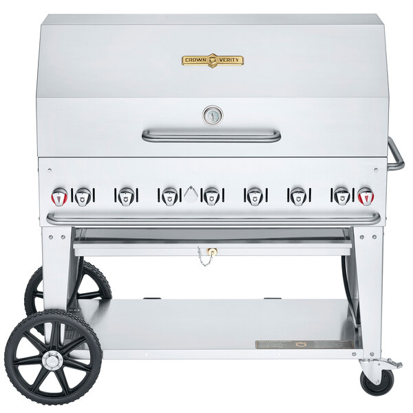 "Crown Verity CV-MCB-48-SI50/100-RDP Liquid Propane 48"" Mobile Outdoor Grill with Single Gas Connection, 50-100 lb. Tank Capacity, and Roll Dome Package Main Image 1"