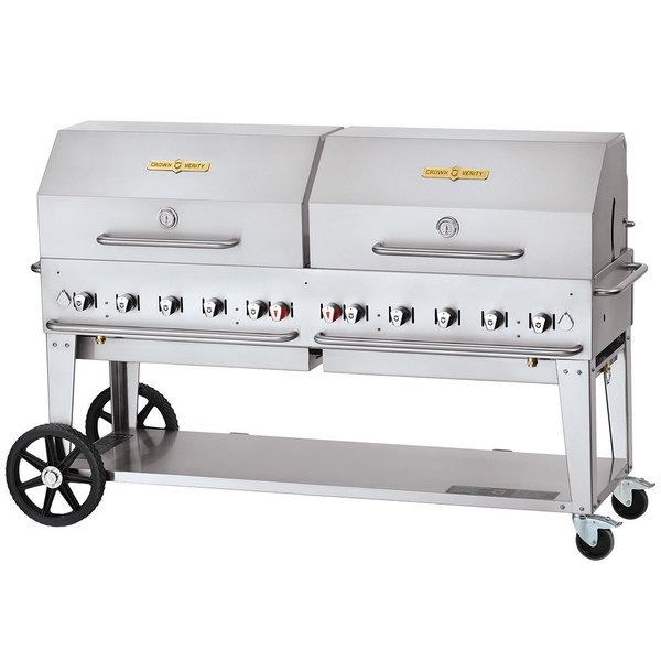 "Crown Verity CV-MCB-72-SI-BULK-RDP Liquid Propane 72"" Mobile Outdoor Grill with Single Gas Connection, Bulk Tank Capacity, and Roll Dome Package Main Image 1"