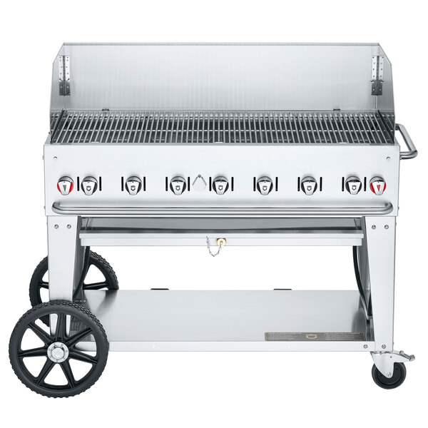 """Crown Verity CV-MCB-48-SI-BULK-WGP Liquid Propane 48"""" Mobile Outdoor Grill with Single Gas Connection, Bulk Tank Capacity, and Wind Guard Package Main Image 1"""