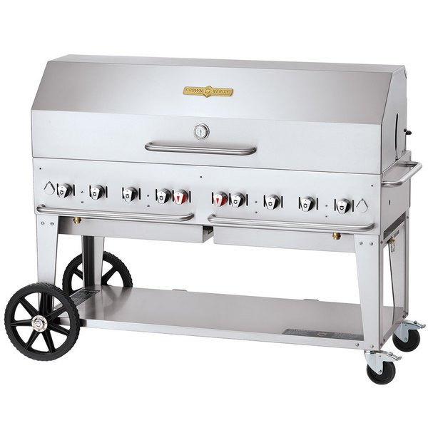 "Crown Verity CV-MCB-60-SI50/100-1RDP Liquid Propane 60"" Mobile Outdoor Grill with Single Gas Connection, 50-100 lb. Tank Capacity, and Single Roll Dome Package Main Image 1"