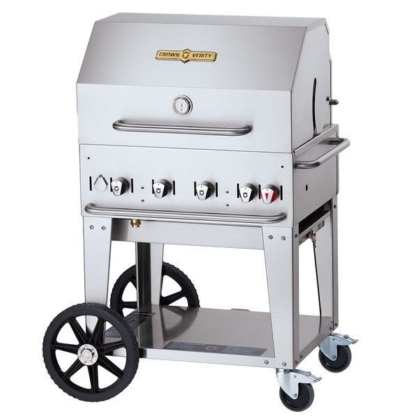 """Crown Verity CV-MCB-30RDP-NG Natural Gas 30"""" Mobile Outdoor Grill with Roll Dome Package"""
