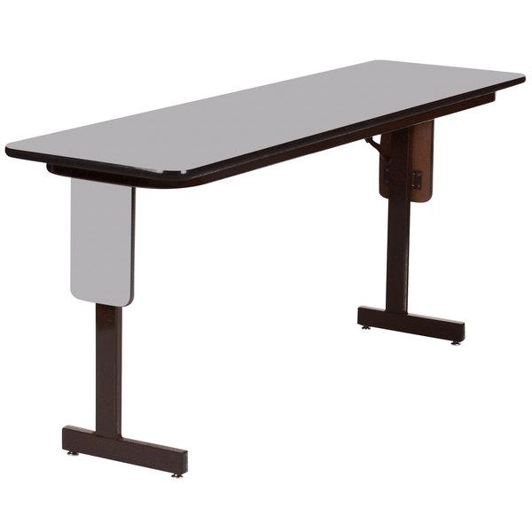 "Correll SP1860PX-15 18"" x 60"" Gray Granite Finish Rectangular High Pressure Folding Seminar Table with Panel Leg"