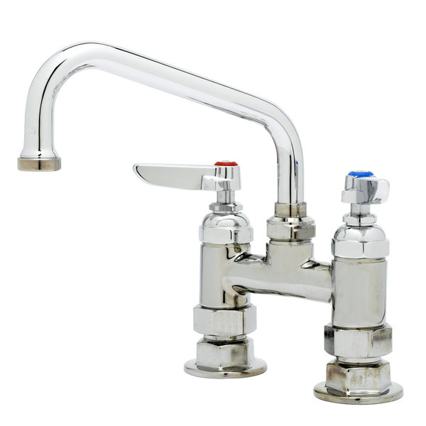 """T&S B-0228 Deck Mounted Pantry Faucet with 4"""" Adjustable Centers, 6"""" Swing Nozzle, and Eterna Cartridges"""