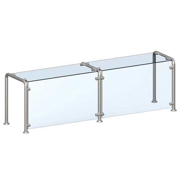 "Vollrath N98628 87"" Contemporary Style Single-Sided Cafeteria Six Well Breath / Sneeze Guard with Top Shelf"